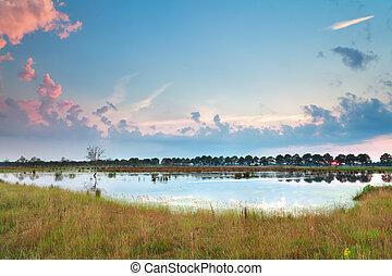 sunset over little wild lake