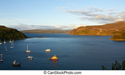 sunset over Loch Portree, Scotland