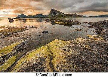Sunset over Lofoten islands