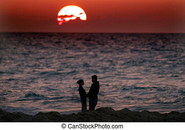 Sunset over lovers