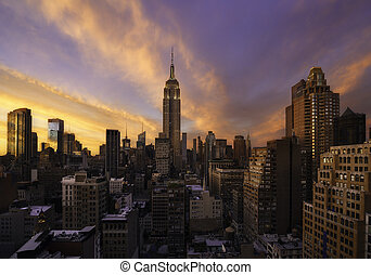 Sunset over Manhattan, New York