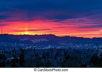 Sunset over Marquam HIll