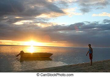 Sunset over Mauritiu