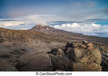 Sunset over Mawenzi Peak, Mount Kilimanjaro, Tanzania,...