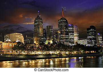 Sunset over Melbourne Architecture, Australia