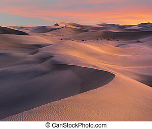 Sunset Over Mesquite Dunes in Death Valley, CA