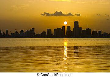 Sunset over Miami Beach - Beautiful Sunset over Miami beach....