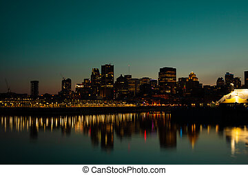 Sunset over Montreal downtown in Canada