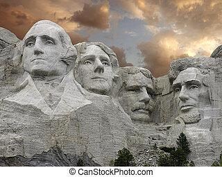 Sunset over Mount Rushmore, U.S.A. - Sunset over Mount...