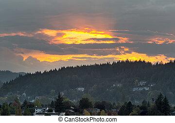 Sunset over Mount Talbert in Happy Valley