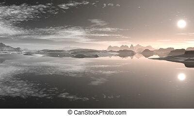 Sunset over mountain lake