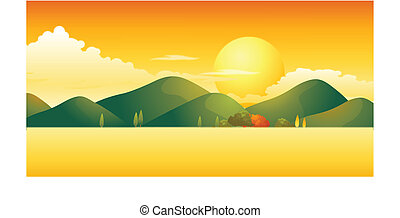 Sunset over mountain landscape
