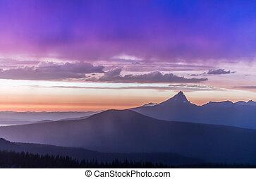 Sunset Over Mountain Range in Oregon