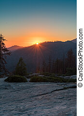 Sunset Over Mountain Slope in Sequoia