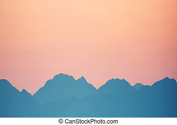 Sunset over mountains