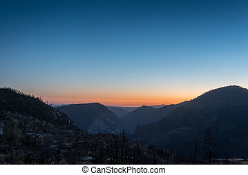 Sunset Over Mountains in Yosemite Wilderness