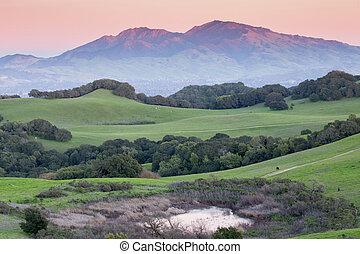 Sunset over Mt Diablo, California - Mt Diablo and Rolling...