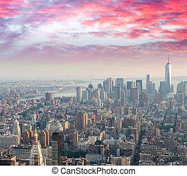 Sunset over New York City skyline