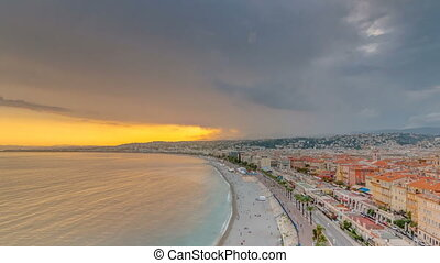 Sunset over Nice city and Mediterranean Sea aerial...