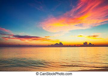 Sunset over ocean