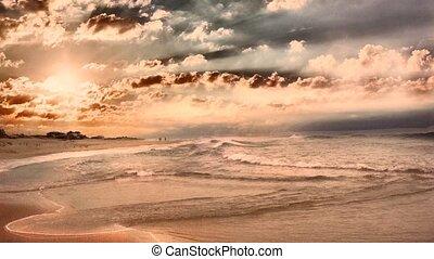 Sunset over ocean shore - Beautiful sunset over ocean shore