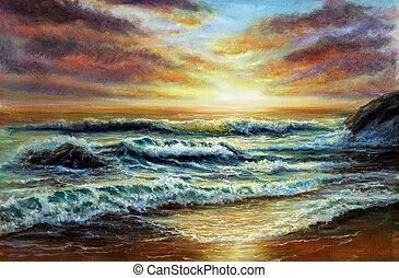Sunset over ocean shore