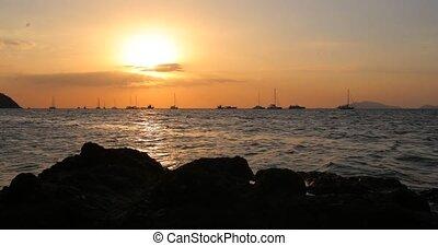 Sunset over Ocean - Timelapse of Beautiful Orange Sun...