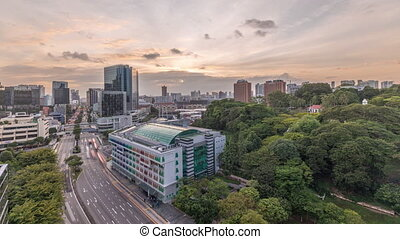 Sunset over Old Hill Street Police Station historic building in Singapore timelapse.
