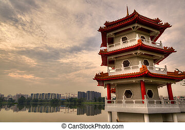 Sunset Over Pagoda at Chinese Gardens, Singapore
