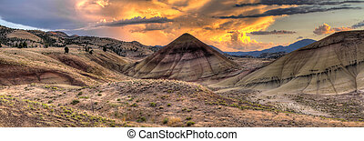 Sunset Over Painted Hills in Oregon