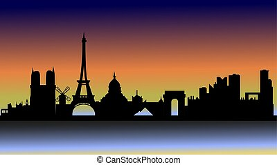 Sunset over Paris in silhouette