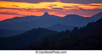 sunset over peaks on blue ridge mountains layers range