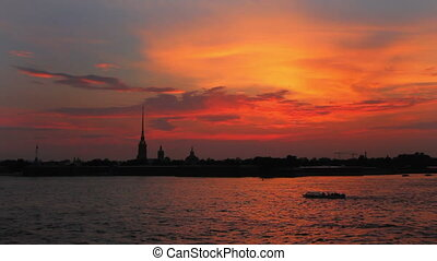 Sunset over Peter and Paul fortress in Saint-Petersburg Russia