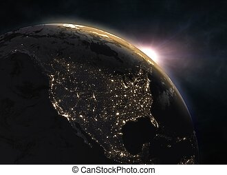 Sunset over planet Earth, North America