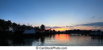 sunset over port dover