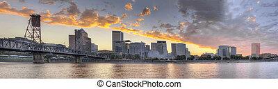 Sunset Over Portland Oregon City Skyline