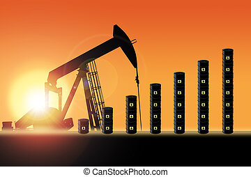 Sunset Over Pumpjack Silhouette and Oil Barrel Chart