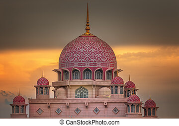 Sunset over Putrajaya Mosque and Panorama of Kuala Lumpur,...