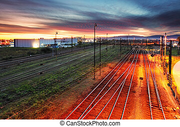 Sunset over railroad