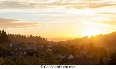 Sunset over Residential Homes