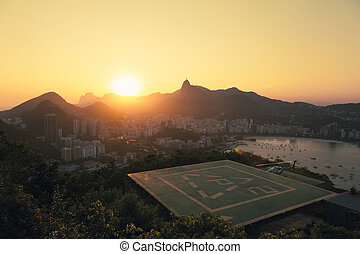 Sunset over Rio De Janeiro, Brazil in the afternoon with...