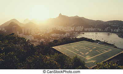 Sunset over Rio De Janeiro in the afternoon