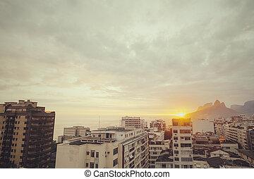sunset over rio dejanero