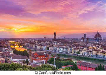 Sunset over river Arno in Florence in Italy - Vivid sunset ...