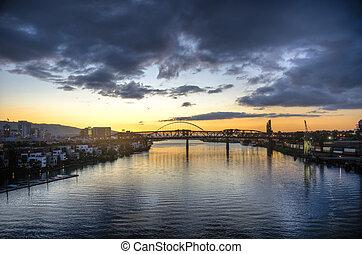 Sunset over river, Portland, Oregon