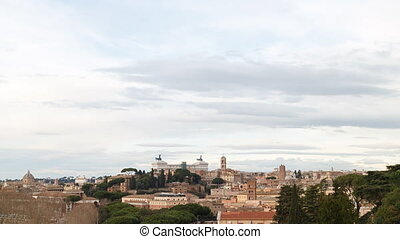 Sunset over Rome, Vittorio Emanuele II. Italy. Time Lapse
