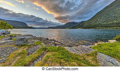 Sunset over Romsdalsfjorden
