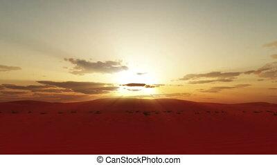 sunset over Sahara desert