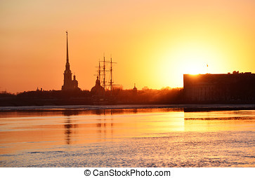 Sunset over Saint Petersburg, Russia