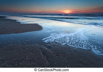 sunset over sand beach on North sea
